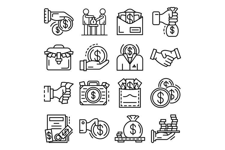 Bribery icon set, outline style example image 1