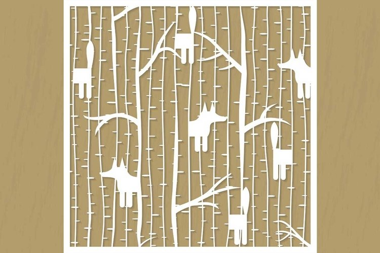 Fox in forest cutting pattern example image 1