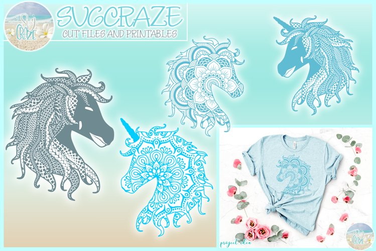 Horse Unicorn Mandala Zentangle Bundle SVG