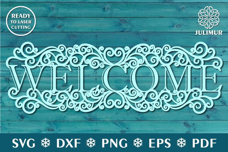 Welcome sign for entrance door, CNC laser cutting template example image 1