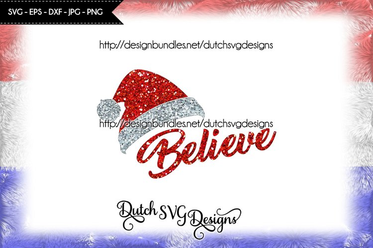 Cut file Believe with Santa hat, christmas svg, believe svg example image 1