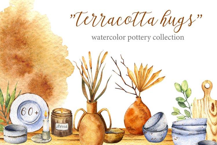 Terracotta hugs watercolor pottery set