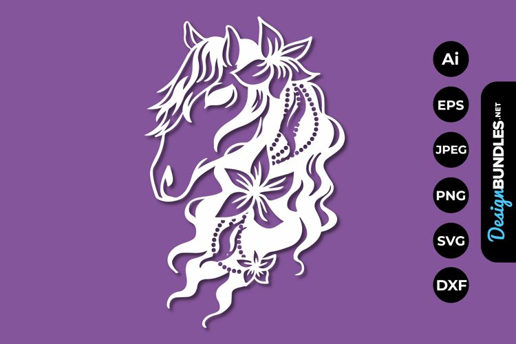 Floral Horse Papercut example image 1