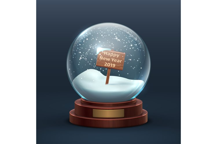 Snow globe. Christmas holiday glass snowglobe with wooden si example image 1