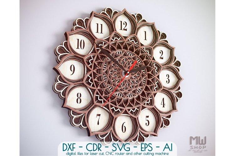 C06 - Mandala Flower Clock, Layered Clock DXF, Clock SVG example image 1