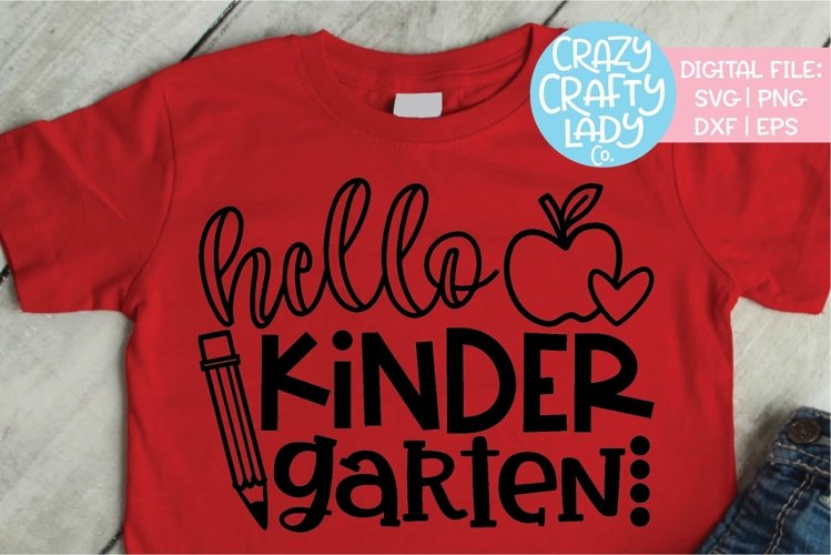 Hello Kindergarten SVG DXF EPS PNG Cut File example image 1