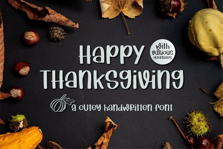 Happy Thanksgiving - A cutey handritten font example image 1