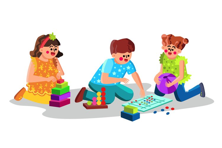 Child Care Center Children Playing Toys Vector