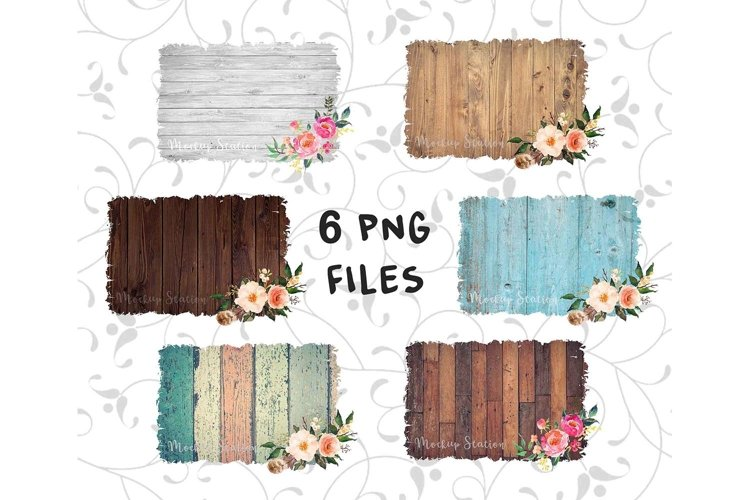 Sublimation Wood Background PNG Bundle, Frame Clip Art Splat