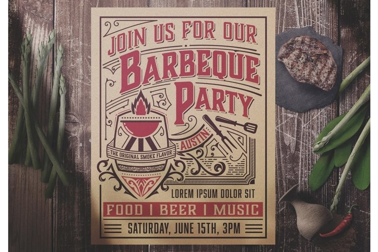 Vintage BBQ Party Flyer Layout