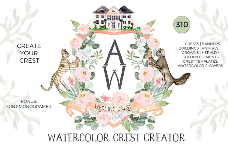 Watercolor Crest Creator. Wedding Clipart