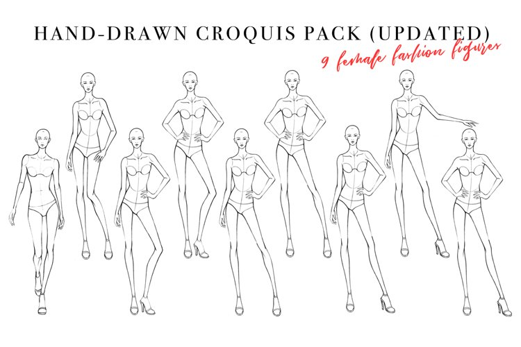 Frontal Female Figure Croquis Pack for Fashion Illustration