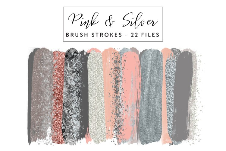 Pink and Silver Brush Strokes Clip Art example image 1