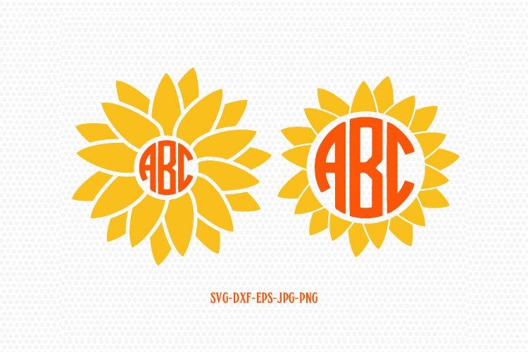 Sunflower SVG, Sunflower Monogram SVG, summer monogram frame