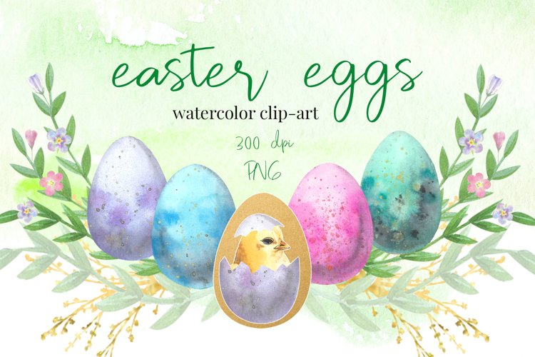 Easter Eggs . Watercolor clip-art collection. example image 1