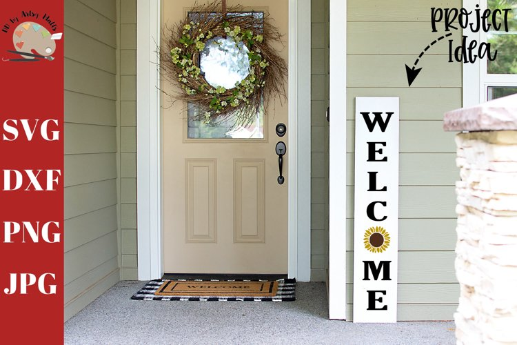 Welcome Sunflower Front Porch Wood Sign svg, home decor svg