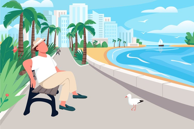 Man sitting on seafront street bench vector illustration example image 1