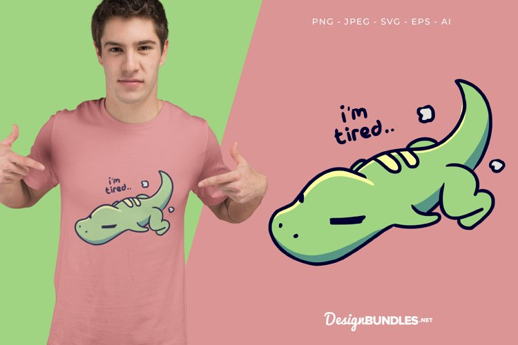 Tired Dino Vector Illustration For T-Shirt Design example image 1