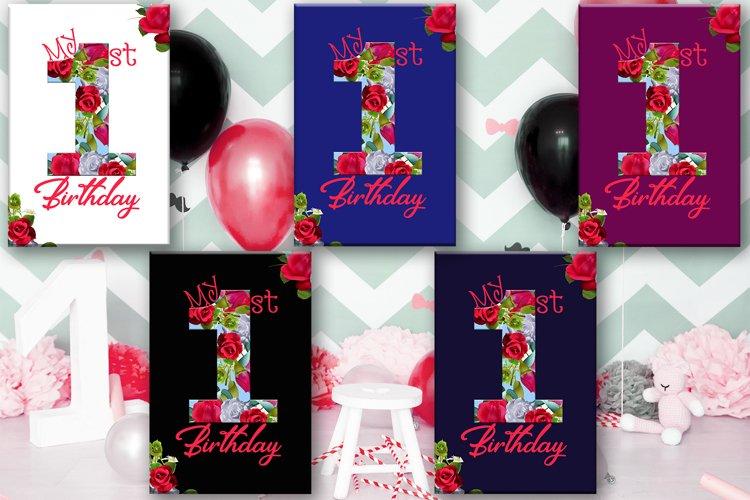 Birthday Card, Happy First Birthday,Cute 1st Birthday, SALE example image 1