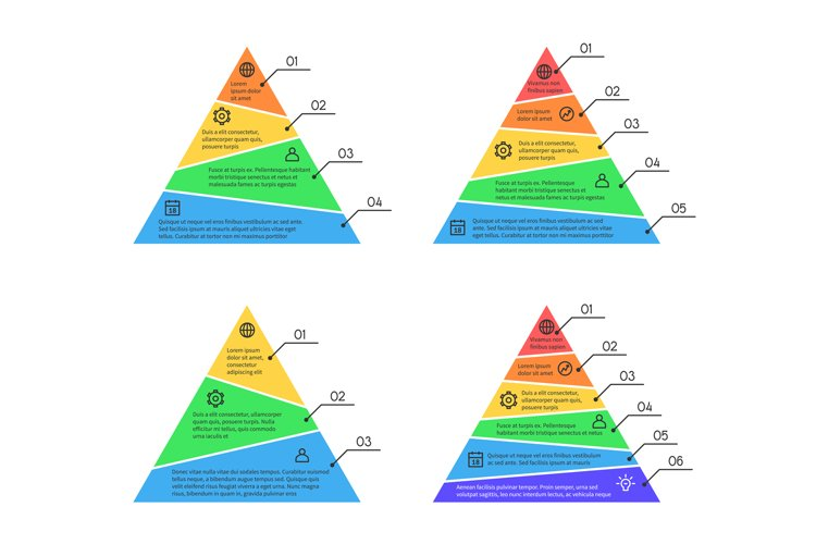 Pyramid, layers chart infographic vector elements with diffe example image 1