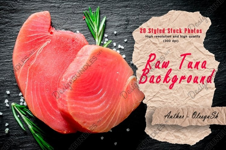 20 Photos Fresh raw tuna steak with lime and rosemary.