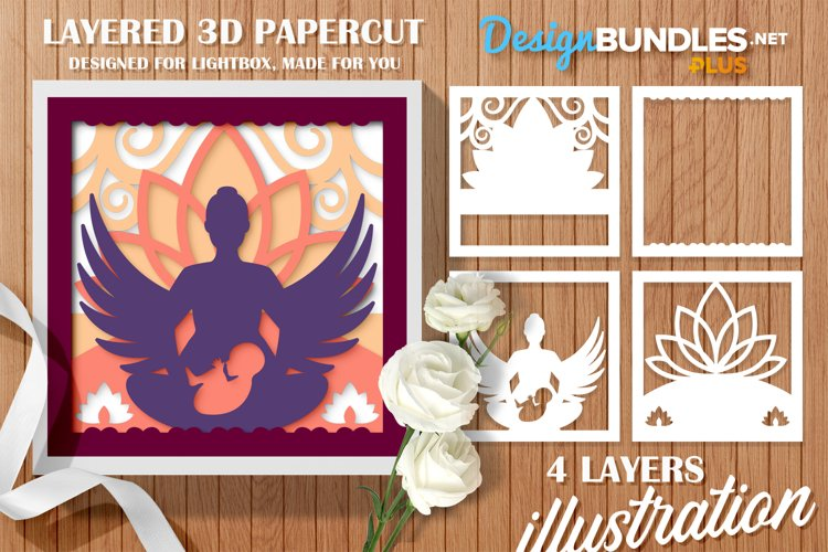 Papercut 3D Layered Mother with Child Flower and Wings SVG example image 1