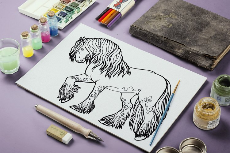 Coloring pages graceful horses 12 files in vector format EPS