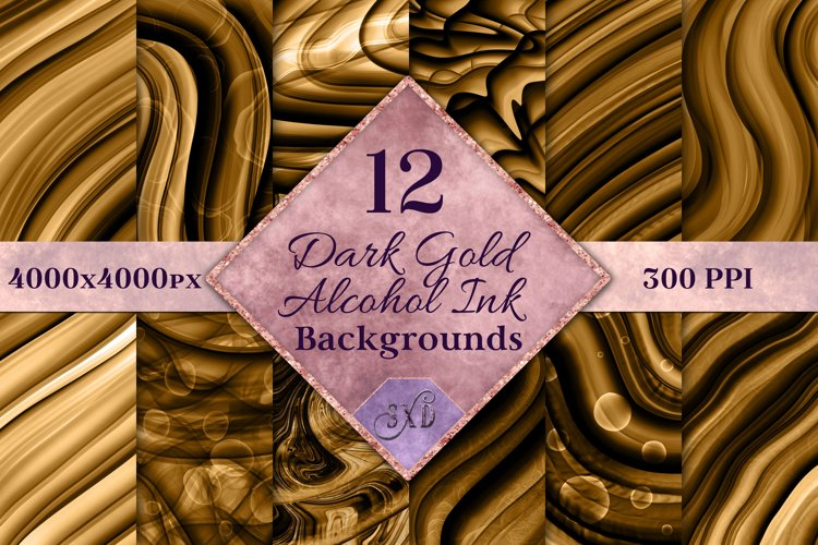 Dark Gold Alcohol Ink Backgrounds - 12 Image Set example image 1