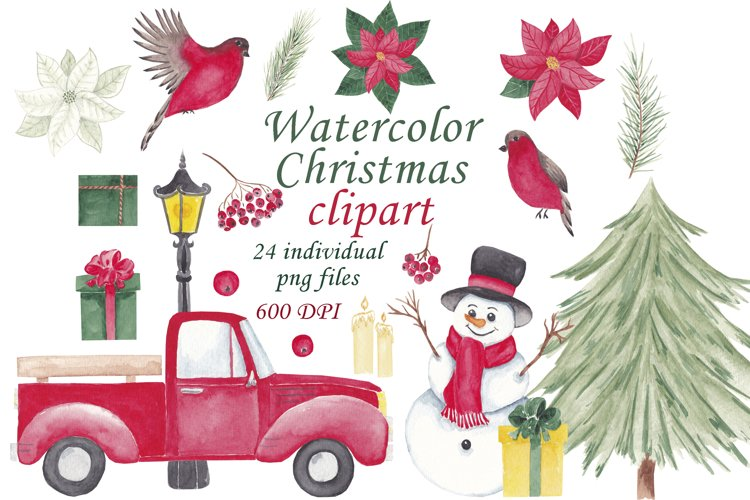 Watercolor christmas clipart set Christmas red track PNG