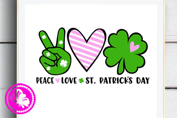 Shamrock svg Peace Love St. Patricks day decor Irish Heart example image 1