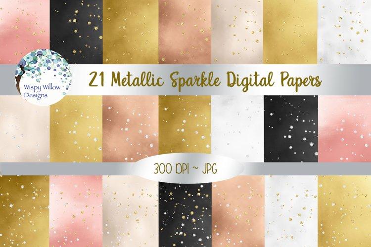 Metallic Sparkle Digital Paper Set example image 1
