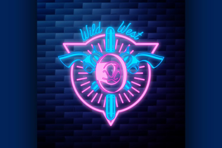 Vntage wild west emblem glowing neon sign example image 1
