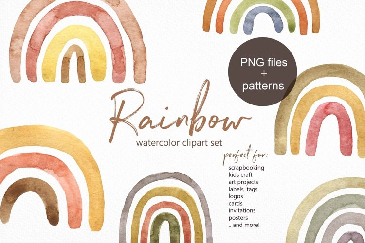 Watercolor Boho Rainbow Modern Neutral rainbows clipart example image 1