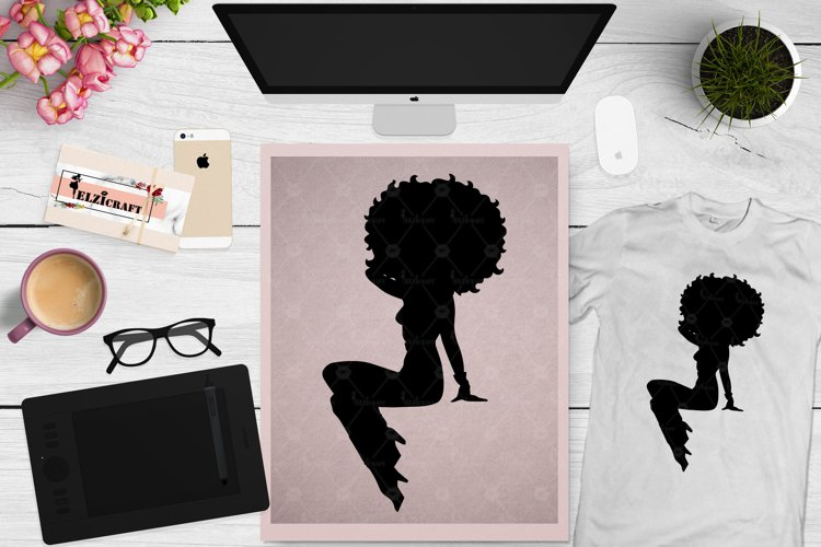 Afro Woman, Afro Puff, Afro Silhouette, Sitting SVG Cut File example image 1