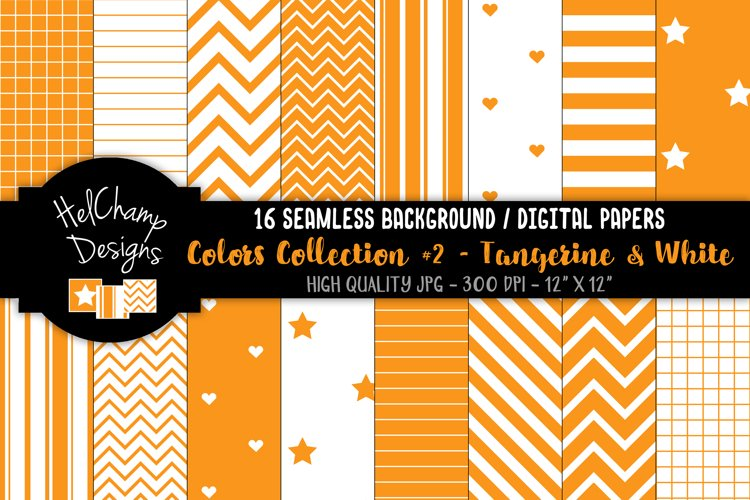 16 seamless Digital Papers - Tangerine and White- HC155