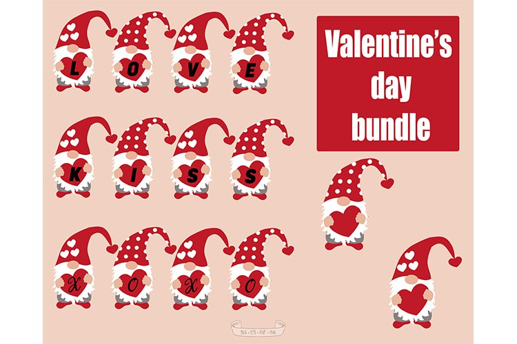 Valentines Day svg, Gnomes svg example image 1