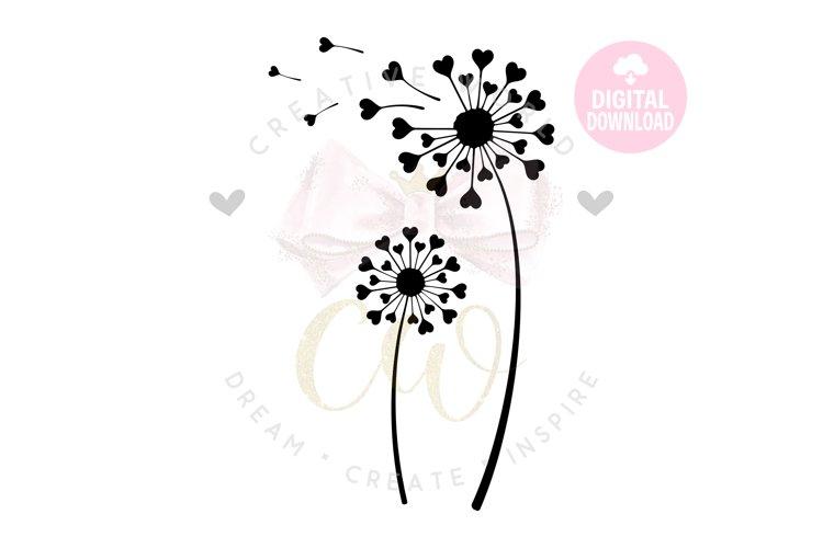 Dandelion svg | Dandelion | Flower svg | Heart Dandelion svg example image 1