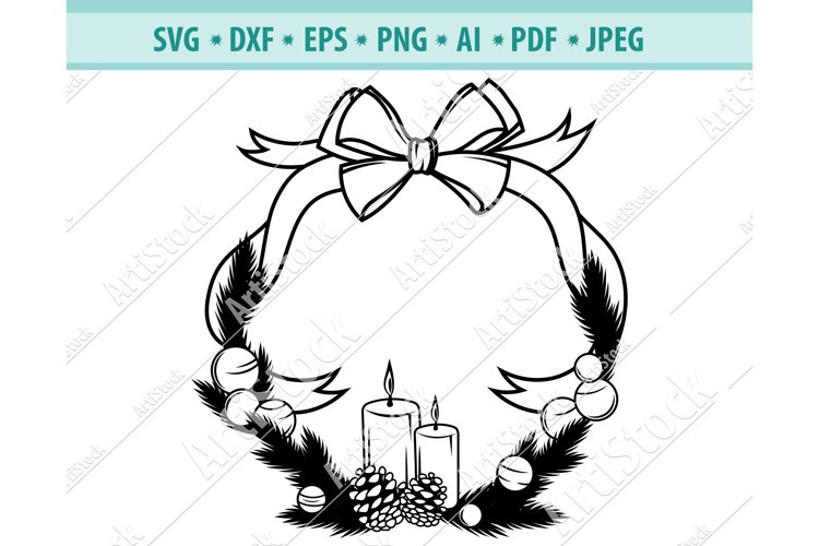 Christmas Wreath svg, Christmas candle Png, Holly Dxf, Eps example image 1