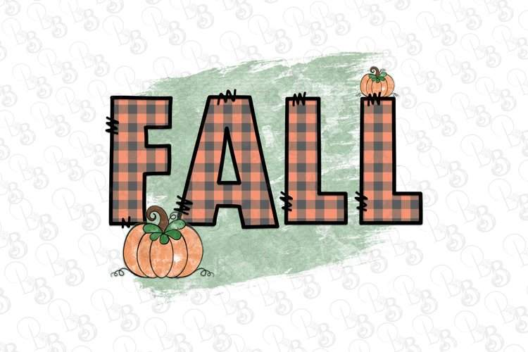 Fall Pumpkin, Buffalo Plaid, Folk Art, Fall Png example image 1