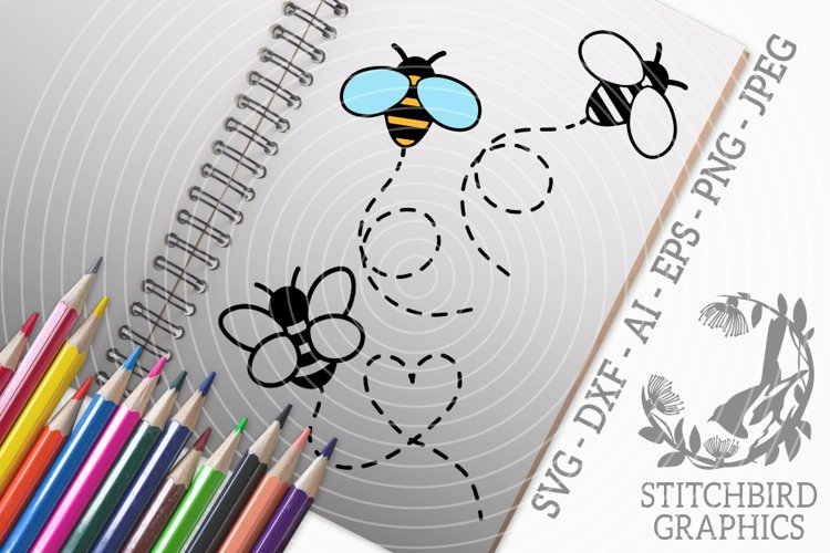 Cute Bees Bundle SVG, Silhouette Studio, Cricut, Eps, JPEG