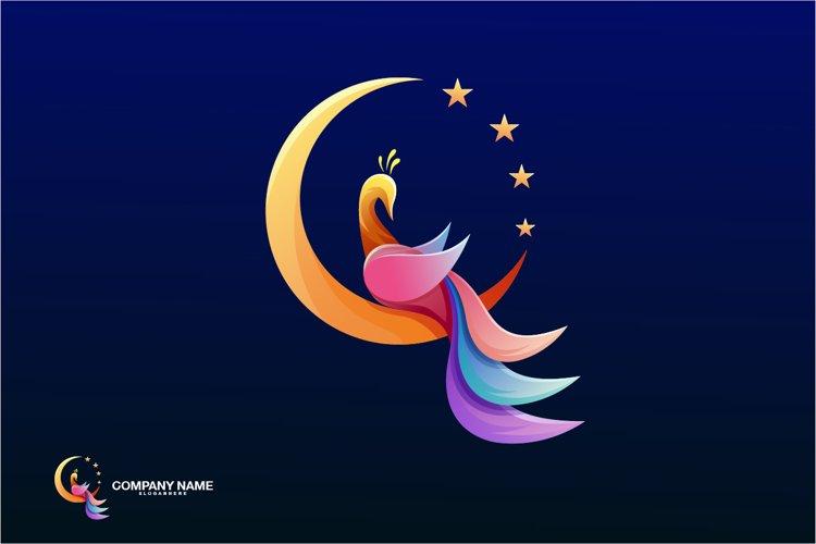 peacock moon logo company vector example image 1