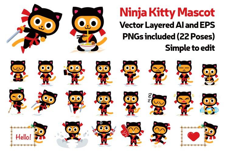 Ninja Kitty Vector Character Mascot
