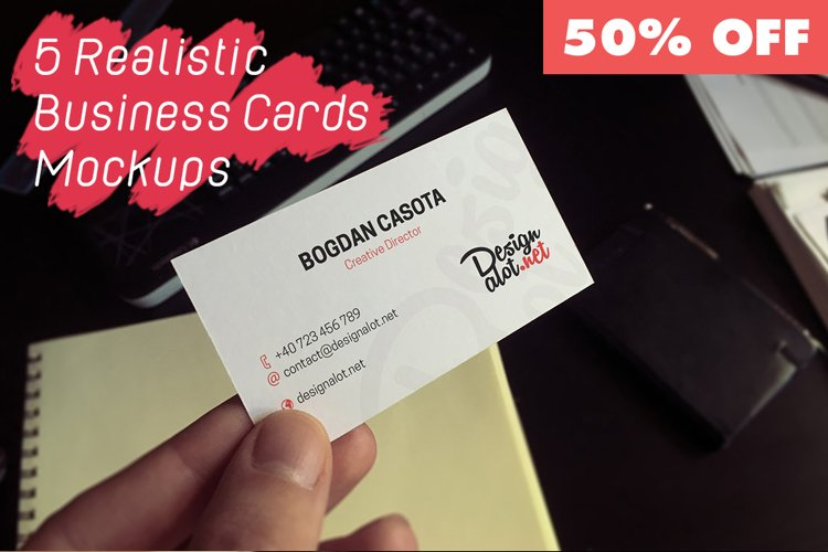 5 Realistic Business Cards Mockups - 50% OFF example image 1