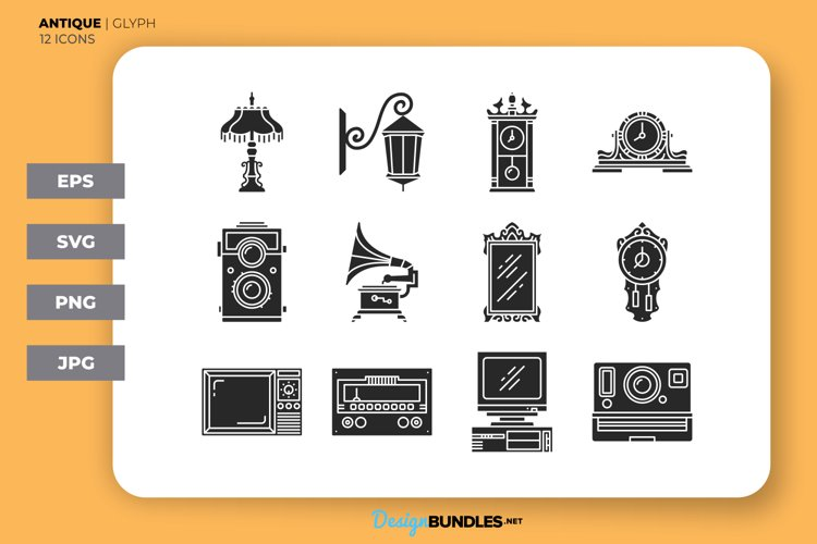 Antique - Glyph Style   Icons example image 1