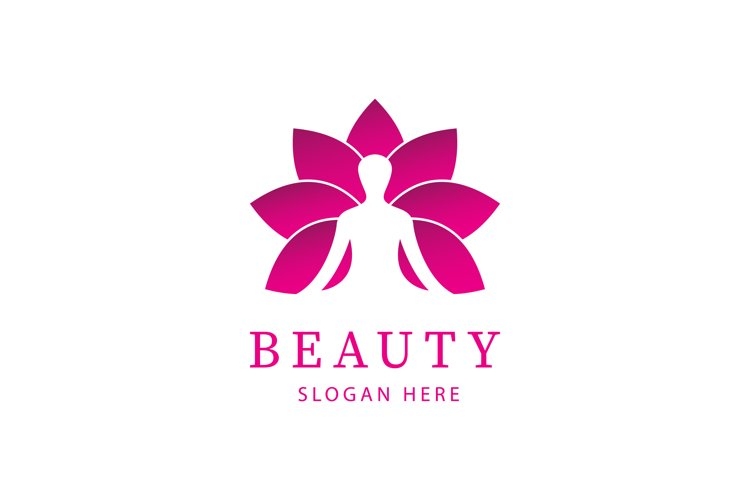 Luxury Woman and Lotus gradient color for Spa logo design in