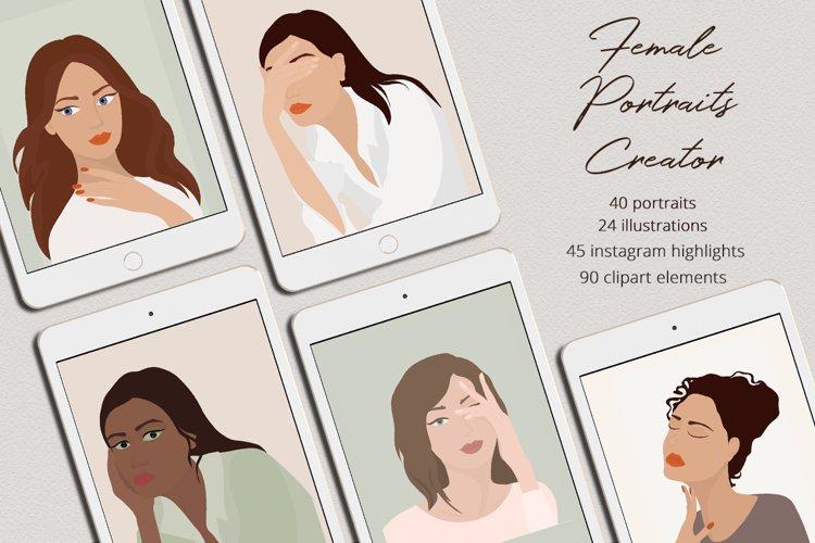 Female Portraits Creator Illustration Set