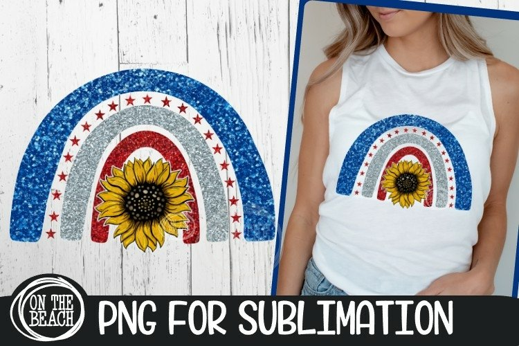 AMERICA - Rainbow - Sunflower - Hand Drawn - PNG Sublimation