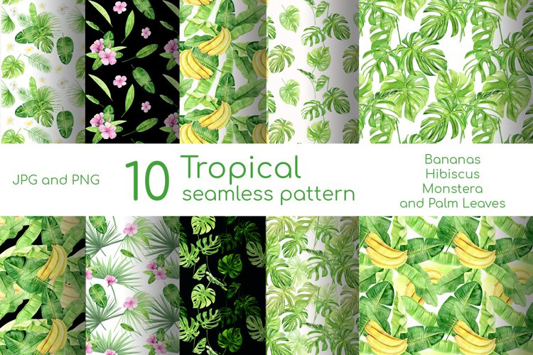 Watercolor digital paper pack with tropical palm leaves example image 1
