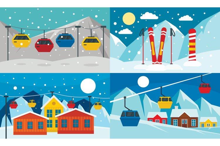 Ski resort banner set, flat style example image 1