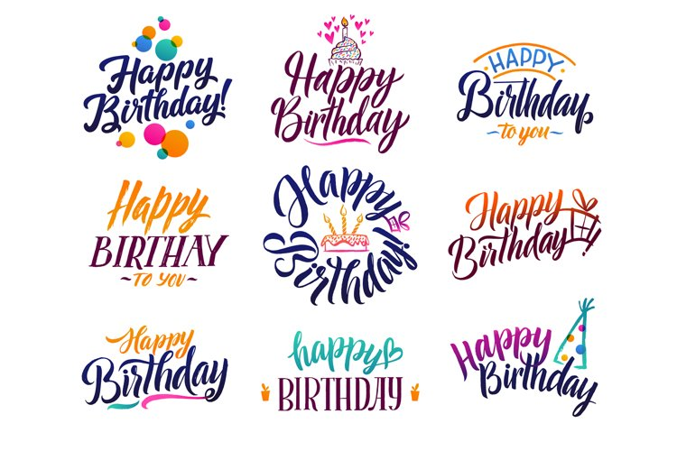 Happy birthday elegant brush script text. Vector type with h example image 1